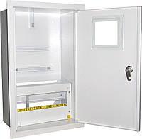 Щит ШМР-3ф.мех-12А-В распределительный металлический для 3ф. индукц. счетчика и 12 автоматов врезной
