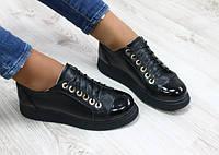 Туфли женские на шнурках, дутая подошва, цвет - черный