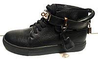 Ботинки женские черные с ремешком Hermes KF0232