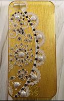 """Пластиковый чехол со стразами """"Rhinestones gold"""" для Apple iPhone 5/5S Чехол для айфона"""