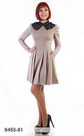 Трикотажное платье со съемным воротничком из кружева (СБ-9453-01)