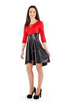 Платье нарядное с юбкой из экокожи, фото 1