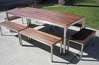Комплект мебели для дачи стол и лавки из дерева
