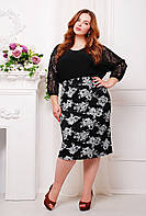 Гипюровая юбка больших размеров Тереза белая роза