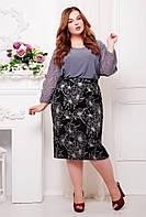 Гипюровая юбка больших размеров Тереза сиреневый цветок