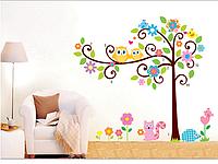 """Наклейка в детскую, наклейки на шкаф """"совы на дереве, а белочка и еж возле цветов"""" (90*60см)2листа высота 1м40"""