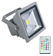 Прожектор LED 20w RGB+пульт 6500K IP65 1LED LEMANSO / LMP20, купить уличный прожектор в Украине