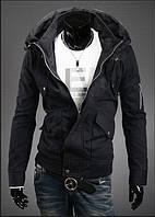Чёрная дизайнерская куртка с необычным воротом