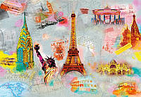 Фотообои бумажные на стену 366х254 см 8 листов: города Вокруг света