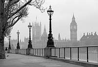 Фотообои бумажные на стену 366х254 см 8 листов: город Лондон - туман