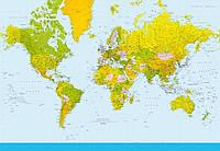 Фотообои бумажные на стену 366х254 см 8 листов: Карта мира №152