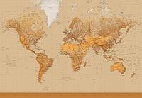 Фотообои бумажные на стену 366х254 см 8 листов: Стелизированая карта мира №153