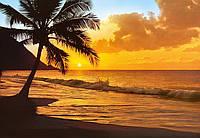 Фотообои бумажные на стену 366х254 см 8 листов: море, Тихоокеанский закат