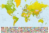 Фотообои бумажные на стену 366х254 см 8 листов: Мировая карта