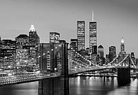Фотообои бумажные на стену 366х254 см 8 листов: черно белый Ночной город , Нью-Йорк Манхэттен