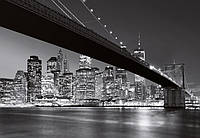 Фотообои бумажные на стену 366х254 см 8 листов: Ночной город, Бруклинский мост Нью-Йорк
