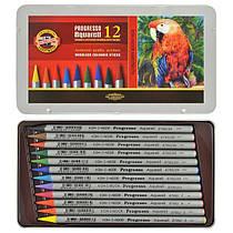 Акварельные бездревестные карандаши  Progresso 12 цветов металлической упаковке Koh-i-Noor