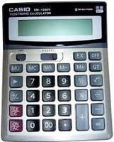 Деловой настольный калькулятор casio dm-1200v, металлическое покрытие, кнопки - пластик, двойное питание, фото 2