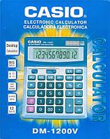 Деловой настольный калькулятор casio dm-1200v, металлическое покрытие, кнопки - пластик, двойное питание, фото 5