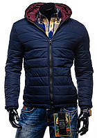 Синяя дутая зимняя куртка на синтепоне с капюшоном