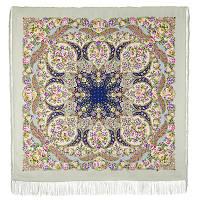 Царевна Несмеяна 1541-2, павлопосадский платок шерстяной  с шелковой бахромой
