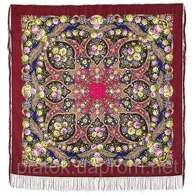 Царевна Несмеяна 1541-6, павлопосадский платок шерстяной  с шелковой бахромой