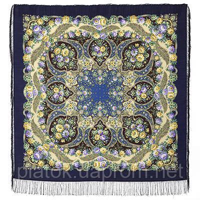 Царевна Несмеяна 1541-14, павлопосадский платок шерстяной  с шелковой бахромой