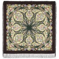 Царевна Несмеяна 1541-16, павлопосадский платок шерстяной  с шелковой бахромой