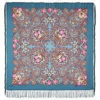 Мечты о счастье 1665-12, павлопосадский платок шерстяной с шелковой бахромой