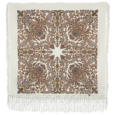 Оберег 1638-1, павлопосадский платок шерстяной  с шелковой бахромой