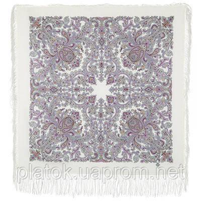 Оберег 1638-2, павлопосадский платок шерстяной  с шелковой бахромой