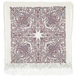 Оберег 1638-3, павлопосадский платок шерстяной  с шелковой бахромой