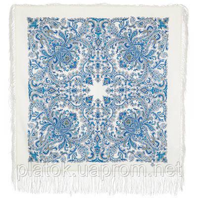 Оберег 1638-4, павлопосадский платок шерстяной  с шелковой бахромой