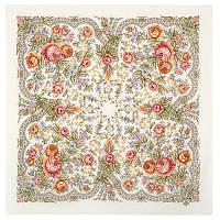 Светлая Надежда 1658-1, павлопосадский платок шерстяной  с осыпкой (оверлоком)