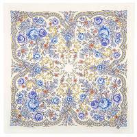 Светлая Надежда 1658-2, павлопосадский платок шерстяной  с осыпкой (оверлоком)