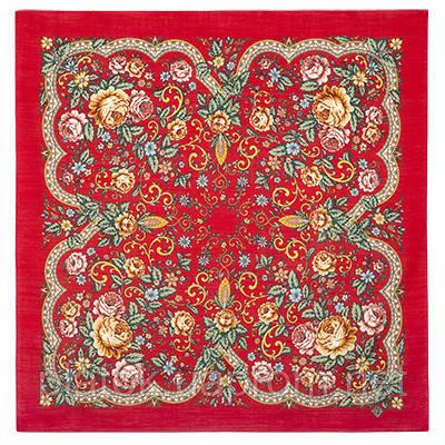 Светлая Надежда 1658-5, павлопосадский платок шерстяной  с осыпкой (оверлоком)