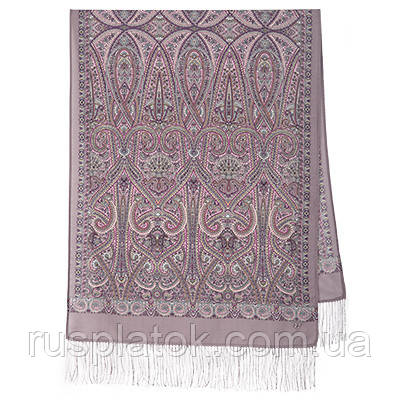 Романтическое свидание 1388-54, павлопосадский шарф шерстяной  с шелковой бахромой