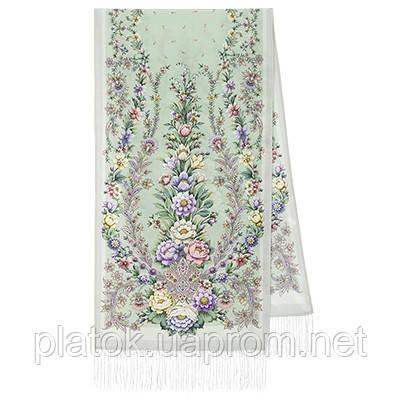 Пора надежд 1645-1, павлопосадский шарф шелковый крепдешиновый с шелковой бахромой