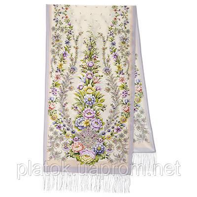 Пора надежд 1645-3, павлопосадский шарф шелковый крепдешиновый с шелковой бахромой