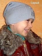 Вязанная шапка для мальчика серого цвета, фото 1