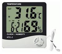 Термометр-гигрометр HTC-2 +часы, календарь, наружный датчик температуры