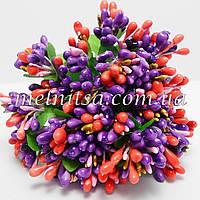 Веточки с  разноцветными тычинками, кораллово-фиолетовый  микс,