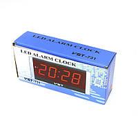 Стильные часы с будильником vst-731-1 красные