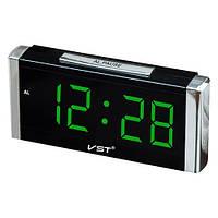 Стильные часы с будильником vst-731-4 салатовые