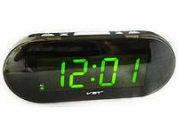 Часы электронные vst-717-4, настольные, сетевые, зеленый led-дисплей, будильник с отсрочкой сигнала