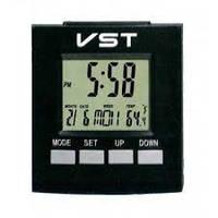 Говорящие настольные часы vst-7027c, с термометром и будильником, компактные размеры, 2*ааа