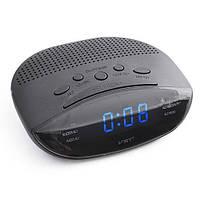 Часы-будильник с fm-приёмником 908-5, синий led-экран, стильный дизайн, электронные, питание 220v