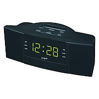 Радио-часы с будильником vst-907-2, зеленый дисплей, удобное управление, автопоиск радиостанций
