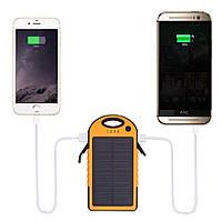 Power bank 12000mAh с солнечной батареей,прорезиненный корпус,2xUSB