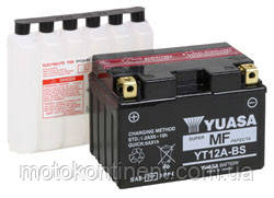 Акумулятор для мотоцикла YUASA YT12A-BS сухозаряженный AGM 10Ah 175A 150x87x130, фото 2